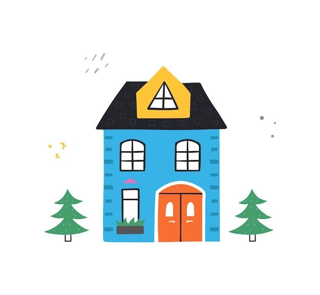 Schattig handgetekende huis en bomen. trendy illustratie in vlakke stijl.