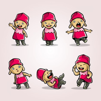 Schattig handgetekende mascotte karakter