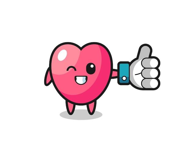 Schattig hartsymbool met sociale media duimen omhoog symbool, schattig stijlontwerp voor t-shirt, sticker, logo-element