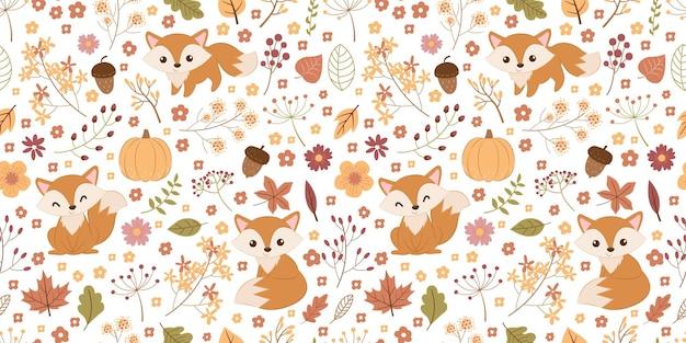 Schattig herfstseizoen naadloos patroon voor kinderstofbehang en nog veel meer