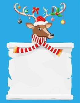 Schattig hert met gewei, sjaal, hulst, strik, kerstballen