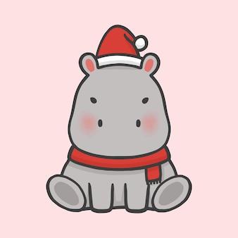 Schattig hippopotamus kostuum kerst hand getekend cartoon stijl
