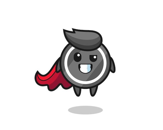 Schattig hockeypuck-personage als vliegende superheldher