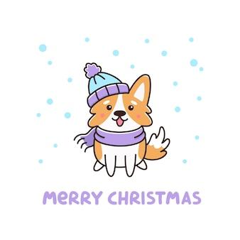Schattig hondenras welsh corgi in muts en sjaal met sneeuwvlokken vrolijk kerstfeest