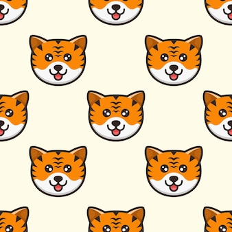 Schattig hoofd tijger patroon ontwerp