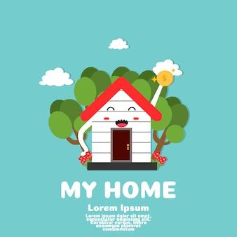 Schattig huis cartoon vector. geld besparen om thuis te kopen