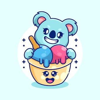 Schattig ijs met koala cartoon