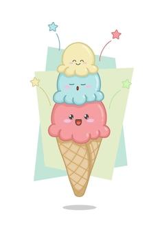 Schattig ijsje in een kegel