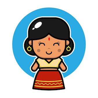 Schattig indiaas meisje karakter