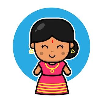 Schattig indisch meisje stripfiguur