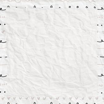 Schattig kader in doodle-stijl op verfrommeld papier