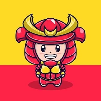 Schattig karakter illustratie samurai harnas