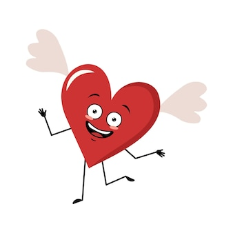 Schattig karakter rood hart met vleugels en vrolijke emoties glimlach gezicht dansen gelukkige ogen armen en benen ...