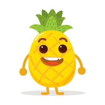 Schattig karakter van ananas met zeer heldere kleur