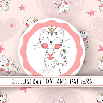 Schattig kat cartoon naadloze patroon