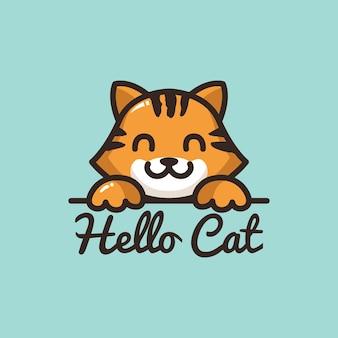 Schattig kat logo stripfiguur glimlach gezicht met poot dierenwinkel