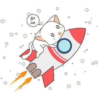 Schattig kattenkarakter en raket