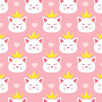 Schattig kattenprinses naadloos patroon