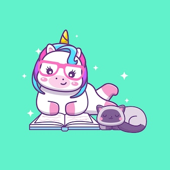 Schattig kawai eenhoorn leesboek met slapende kat cartoon afbeelding