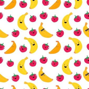 Schattig kawaii aardbei en banaan fruit naadloos patroon fruit bessen patroon s