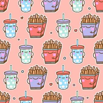 Schattig kawaii eten naadloos patroon