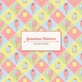 Schattig kawaii ijsjes naadloos patroon.