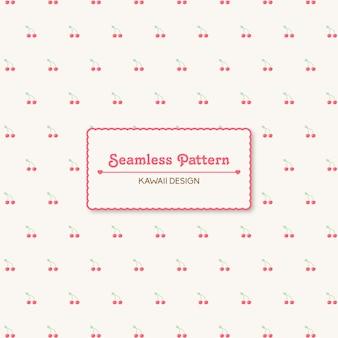 Schattig kawaii kersen transparant naadloos patroon