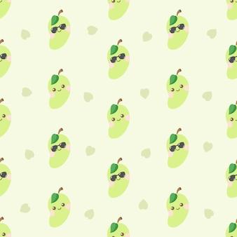 Schattig kawaii mango karakter naadloos patroon
