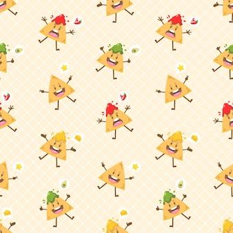 Schattig kawaii nacho's karakter naadloos patroon