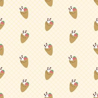 Schattig kawaii pannenkoeken naadloos patroon