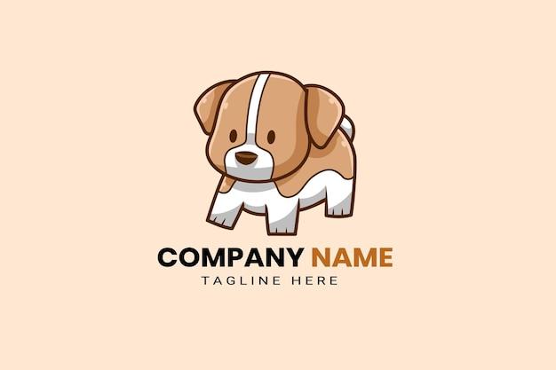 Schattig kawaii puppy corgi hond mascotte cartoon logo sjabloon pictogram illustratie handgetekende