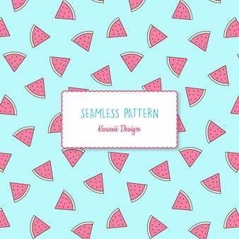 Schattig kawaii watermeloen transparant naadloos patroon
