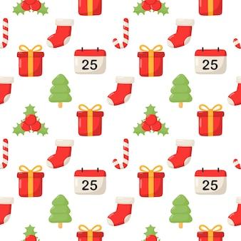 Schattig kerst doodle naadloze patroon op witte achtergrond.