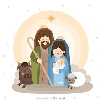 Schattig kerststal portret