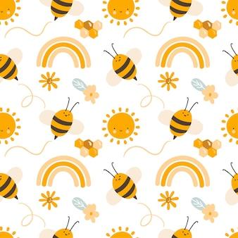 Schattig kind naadloos handgetekend patroon met vliegende bijen en regenboog en bloemen. scandinavische vectorillustratie