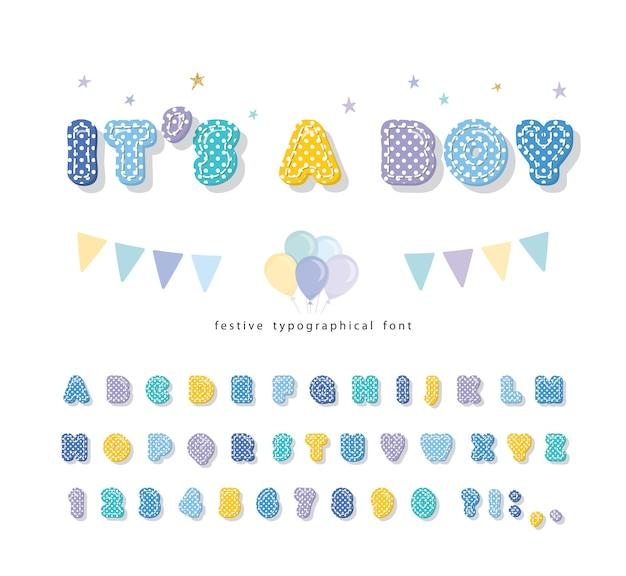 Schattig kinderachtig lettertype met polka dots