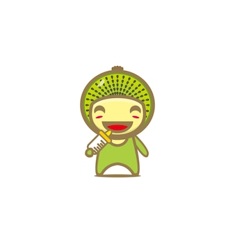Schattig kiwi fruit grappige cartoon karakter vector cartoon kawaii karakter illustratie