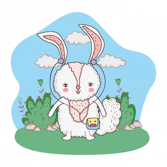 Schattig klein konijn met walkman in het park