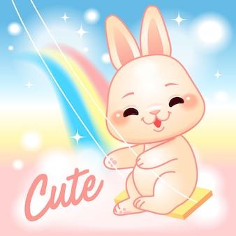 Schattig klein konijntje op een schommel, regenboog fantasiewereld