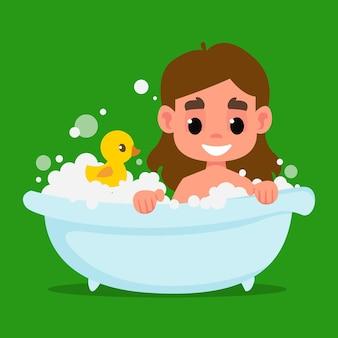 Schattig klein meisje baadt in een badkuip veel schuim en een rubberen gele eendje vector ar