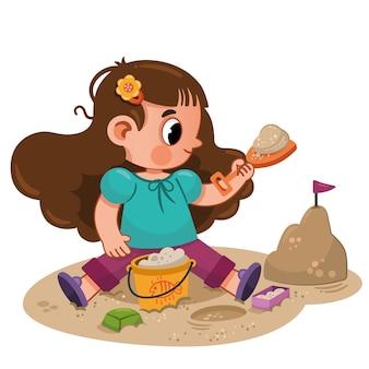 Schattig klein meisje dat een zandkasteel bouwt vectorillustratie