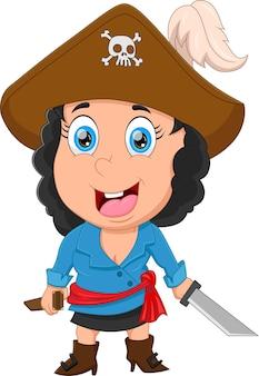Schattig klein meisje dat piratenkostuum draagt en zwaard vasthoudt