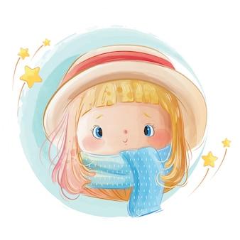 Schattig klein meisje draagt sjaal