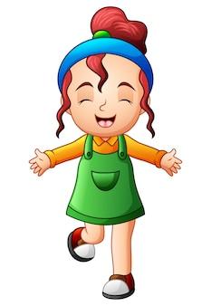 Schattig klein meisje glimlachend in jumpsuit