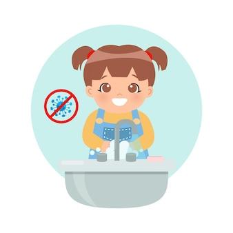 Schattig klein meisje haar hand wassen bij gootsteen om bacteriën en coronavirus te voorkomen flat cartoon stijl geïsoleerd op wit