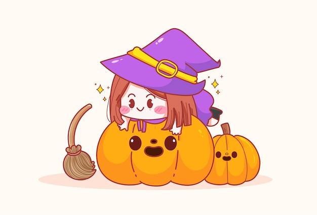 Schattig klein meisje heks en pompoen en plezier op halloween viering getekende cartoon kunst illustratie