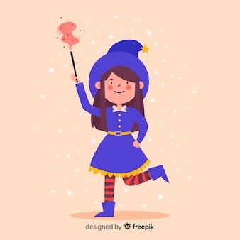 Schattig klein meisje heks met een toverstokje