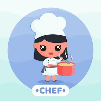 Schattig klein meisje in chef-kok uniform koken soep stripfiguur illustratie
