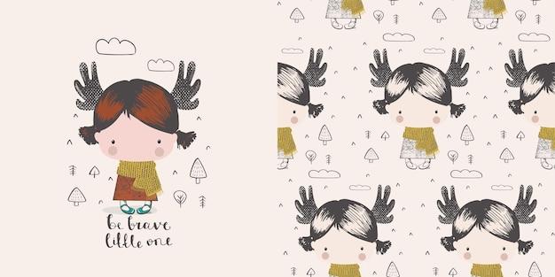Schattig klein meisje in het bos met hoorns van elanden hand getekende kleur characterscandinavische