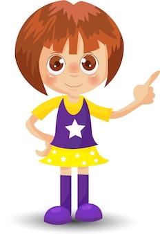 Schattig klein meisje in staande positie kinderen cartoon